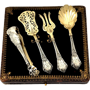 Lapar French Sterling Silver 18-Karat Gold Hors D'oeuvre Dessert Set Box