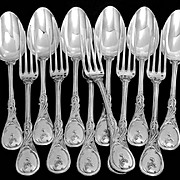 Veyrat Fabulous French Sterling Silver Dinner Flatware Set 12 pc Rococo