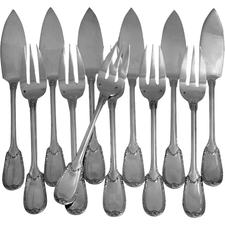 Charles CHRISTOFLE Rare French Sterling Silver Fish Flatware Set 12 pc Neoclassical