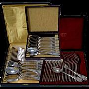 PUIFORCAT Fabulous French Sterling Silver Flatware Set 60 pc Rococo w/boxes