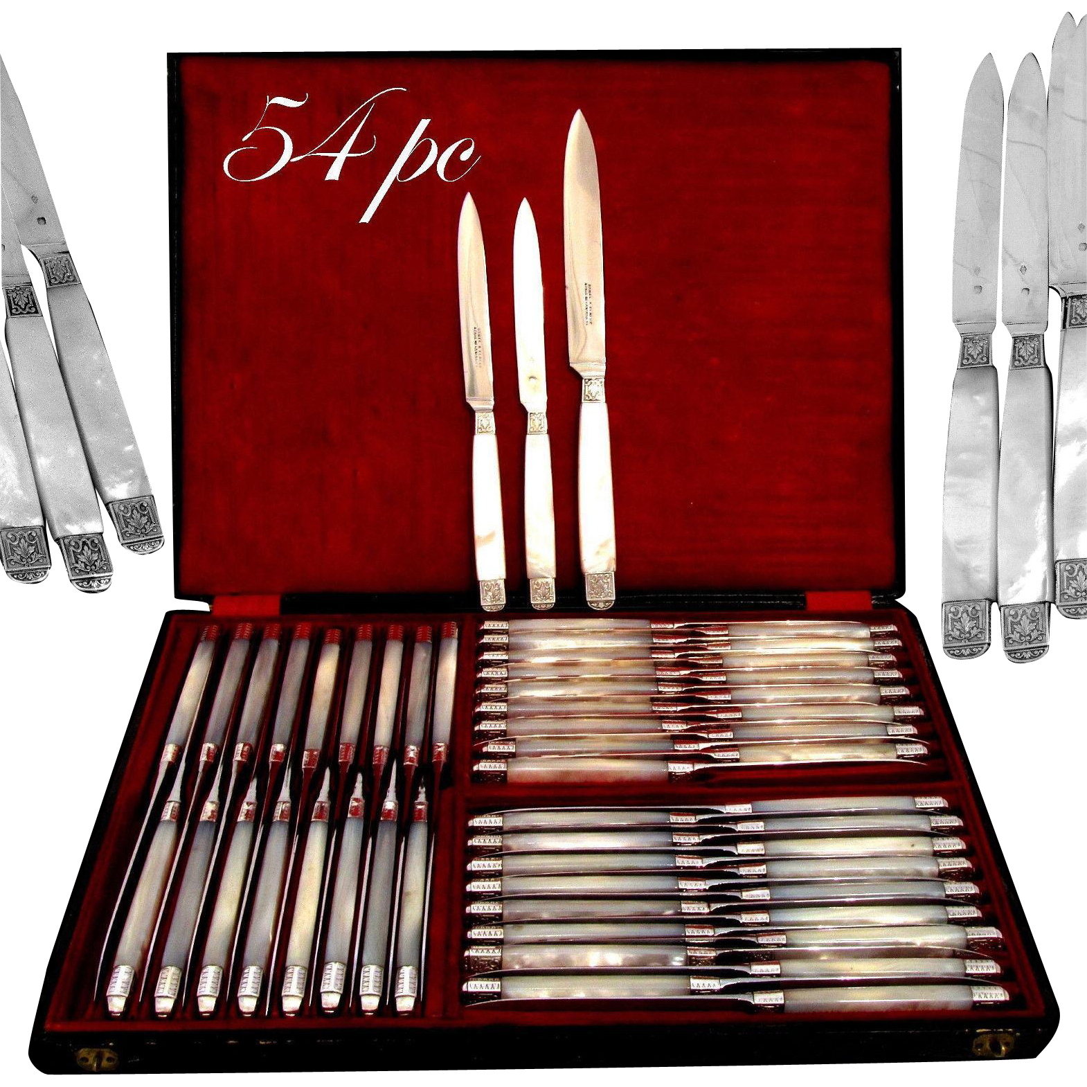 Piault Rare French Mother of Pearl Sterling Silver Table Knife Set 54 pc w/Box
