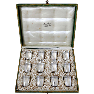 Crossard French Sterling Silver 18-Karat Gold Liquor Cups 12 Pieces, Original Box