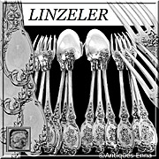 Linzeler French Sterling Silver Dinner Flatware Set 12 pc, Rococo