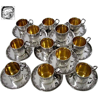 Boulenger Rare French Sterling Silver 18-Karat Gold Twelve Coffee or Tea Cups