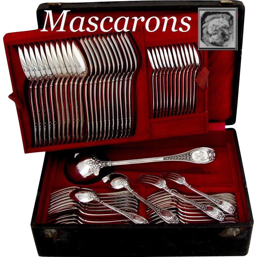 HENIN Incredible French Sterling Silver Flatware Set 61 pc with chest Mascarons