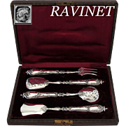 Ravinet French All Sterling Silver Dessert Hors d'Oeuvre Set 4 pc with original box