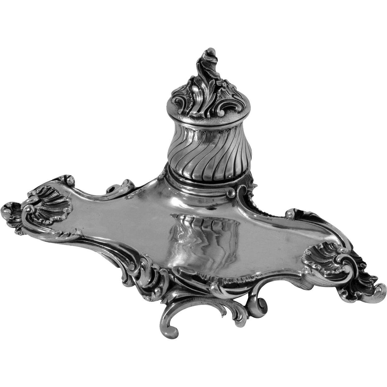 Canaux Rare French All Sterling Silver Inkwell Exaggerated Rococo Pattern