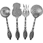 HENIN Fabulous French All Sterling Silver Hors D'oeuvre Dessert Set 4 pc Rococo