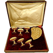 Rare French Sterling Silver 18-Karat Gold Strawberry or Olive Serving Set