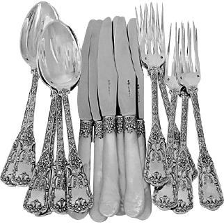 Cardeilhac French Sterling Silver Dinner Flatware Set 18 Pieces Neoclassical