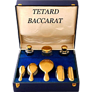 Tetard French 18-Karat Gold Sterling Silver Baccarat Crystal Travel Vanity Set