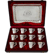 Rare French Sterling Silver 18-karat Gold Liquor Cups with Original Tray and Box
