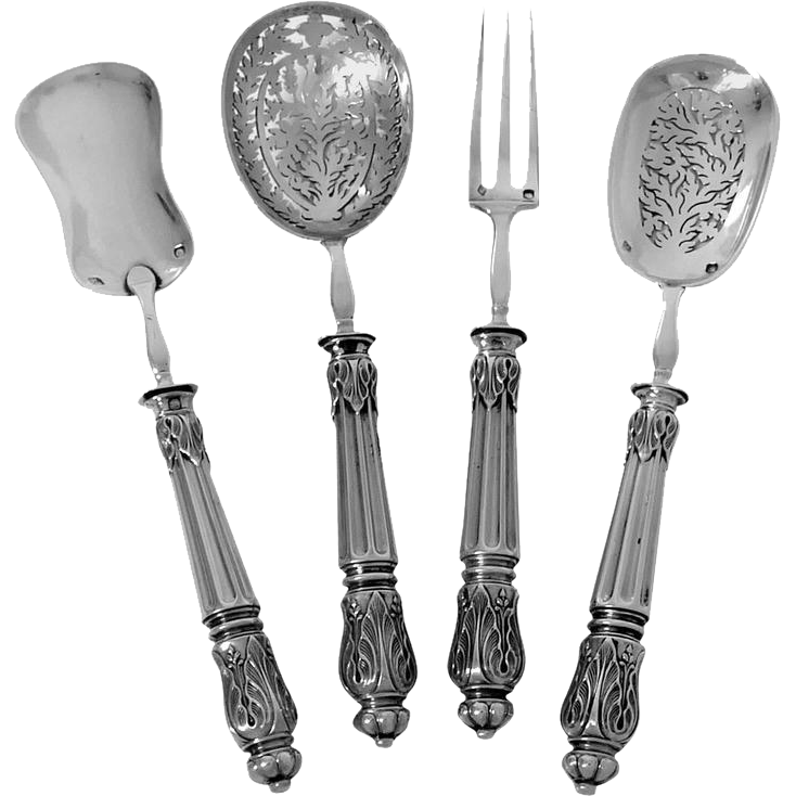 Puiforcat French All Sterling Silver Dessert Hors d'Oeuvre Set Napoleon III