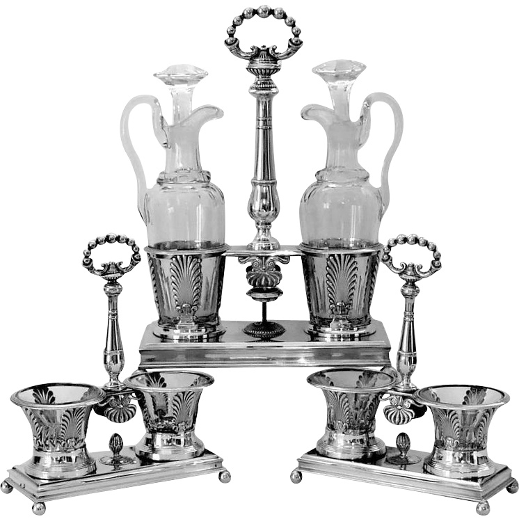 1819 Imposing French Sterling Silver Baccarat Crystal Bottles Condiment Set