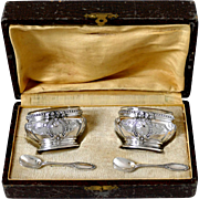 Antique French Sterling Silver 18k Gold Salt Cellars Pair, Spoons, Original Box, Neoclassical
