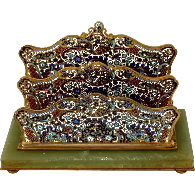 Antique French Champlevé Enamel Onyx Letter Stand / Table / Desk Accessory