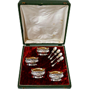 Coignet French Sterling Silver 18k Gold Four Salt Cellars, Spoons, Original Box, Neoclassical