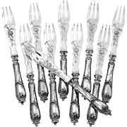 Ravinet D'Enfert Rare French Sterling Silver Melon Forks Set, Rococo, Circa 1890