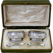 Puiforcat French Sterling Silver Gold 18k Salt Cellars Pair, Original Spoons & Box