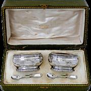 Puiforcat French Sterling Silver Gold 18k Salt Cellars Pair, Original Spoons & Box
