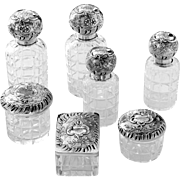 1880s Veyrat French 18k Gold Sterling Silver Baccarat Cut Crystal Dresser Set 7 pc, Rococo