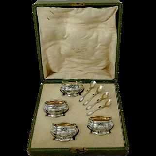 Coignet French Sterling Silver 18-Karat Gold Four Salt Cellars, Spoons, Box
