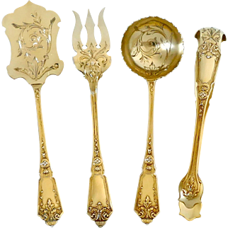 Murat French Sterling Silver 18k Gold Dessert Hors D'oeuvre set, box, Regency