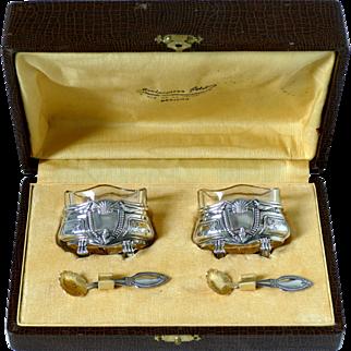 Crossard Antique Sterling Silver 18-Karat Gold Salt Cellars Pair, Spoons, Original Box