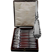 Puiforcat French All Sterling Silver Oyster Forks 12 pc box Louis XVI, Pompadour