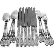 Lapparra Fabulous French Sterling Silver Dinner Flatware 18 pc Empire Torch
