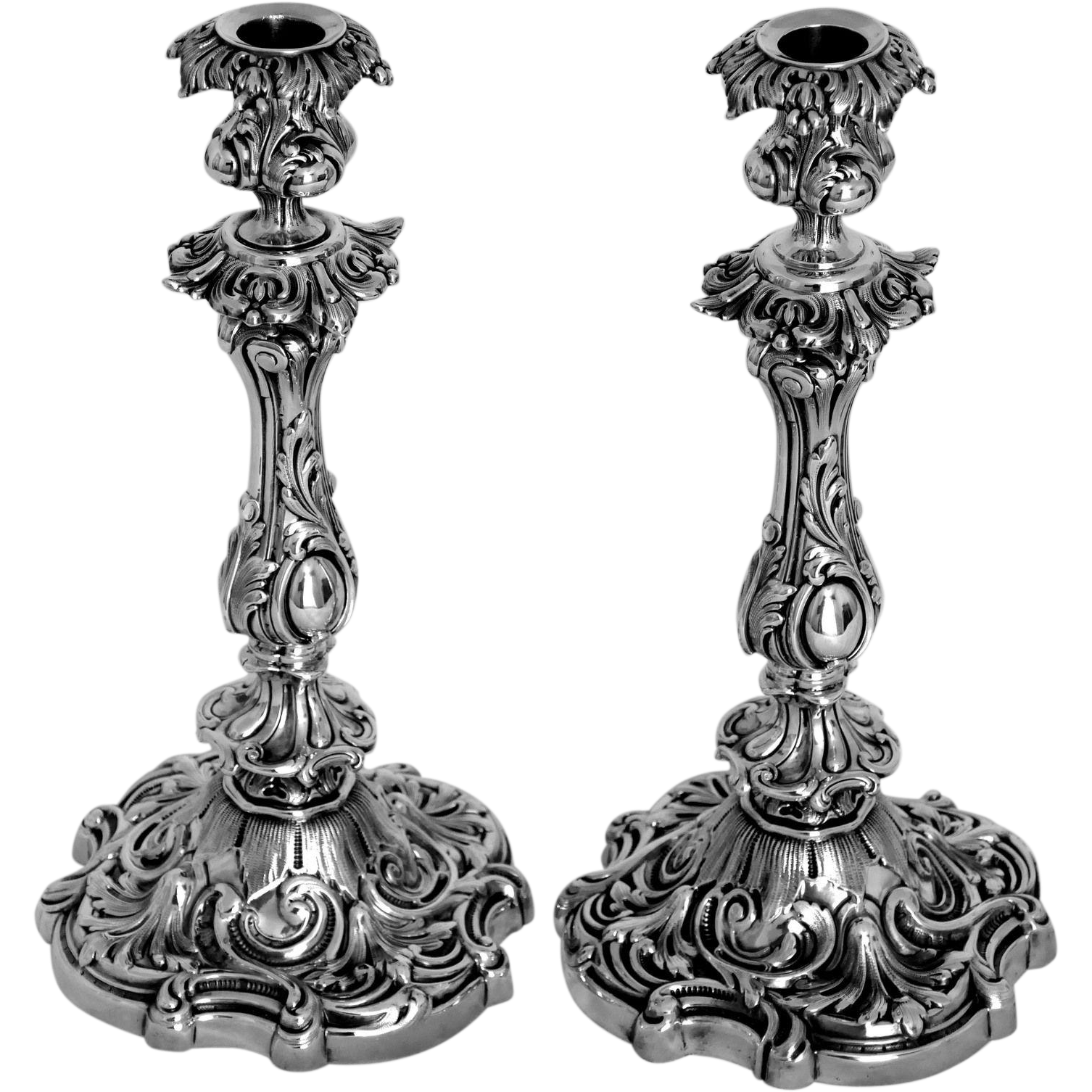 Antique French Sterling Silver Candlesticks Pair, Rococo