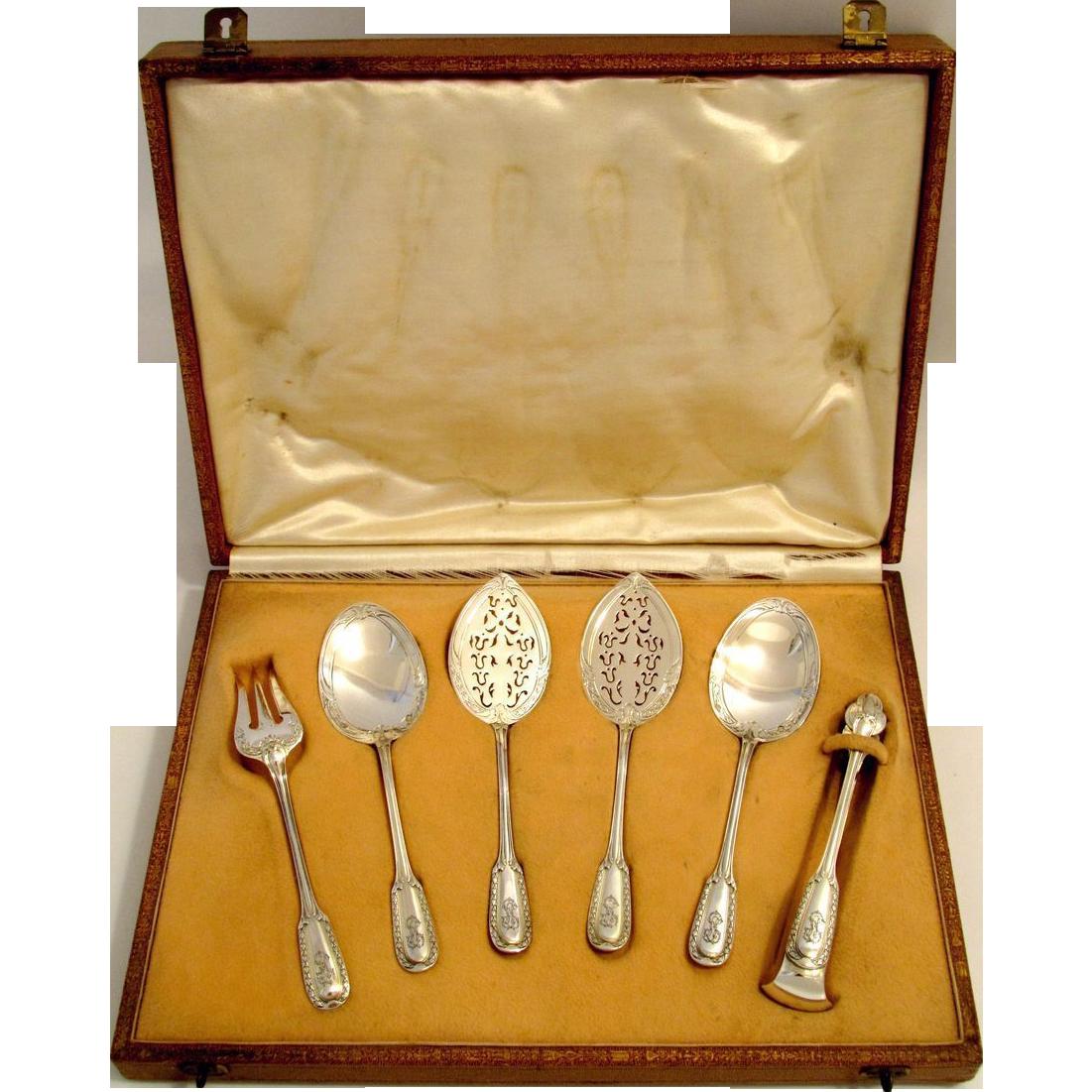Puiforcat French Sterling Silver Dessert/Hors D'oeuvre Set 6 pc w/Box Louis XVI