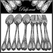 PUIFORCAT French Sterling Silver Dessert/Entremet Flatware Set 12 pc Rococo