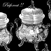 PUIFORCAT  French Sterling Silver Vermeil Sugar Bowl Rococo