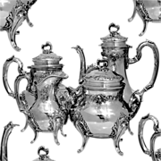 French All Sterling Silver Tea & Coffee Service 4 pc Rococo