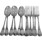 Fabulous French Sterling Silver Dessert Flatware 12 pc w/box Musical Instruments