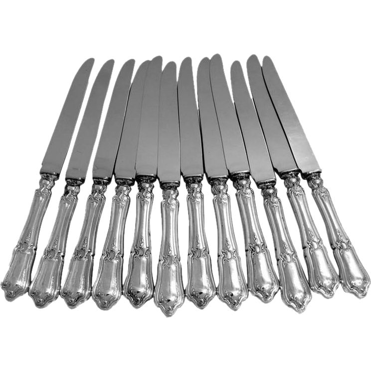 RAVINET French Sterling Silver Dinner Knife Set 12 pc New Stainless Steel Blades