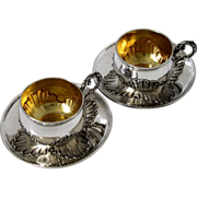 Pair of French Sterling Silver Vermeil Coffee/Tea Cups w/Saucers Rococo Pattern
