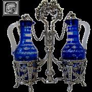 French Sterling Silver Oil and Vinegar Cruet Set Baccarat Cobalt Blue Louis XVI pattern