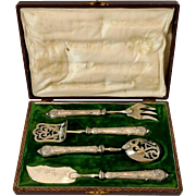 Gorgeous French Sterling Silver Dessert Hors d'Oeuvre Set 4 pc w/box Rococo