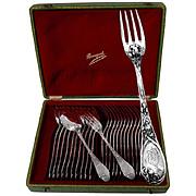 PUIFORCAT French Sterling Silver Dessert/Entremet Flatware Set 24 pc w/box Iris