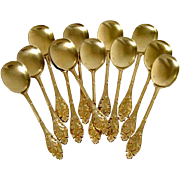 Linzeler Masterpiece French All Sterling Silver Vermeil Ice Cream Spoons Set 12 pc Wild Flowers