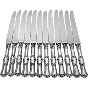 French Sterling Silver Dinner Knife Set 12 pc Mascaron with box and Stainless Steel Blades