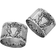 PUIFORCAT Rare French Sterling Silver Napkin Rings Pair Rococo