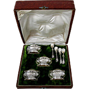 Fabulous French Sterling Silver Vermeil Set 4 Salt Cellars Spoons Box Lily of the Valley