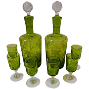 1900s St. Louis French Green Cut Crystal Liquor Set, Decanter Pair and Cordials