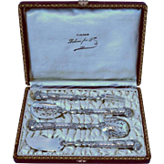 French All Sterling Silver Hors d'Oeuvre Set 4 pc box Pistol-shaped handles