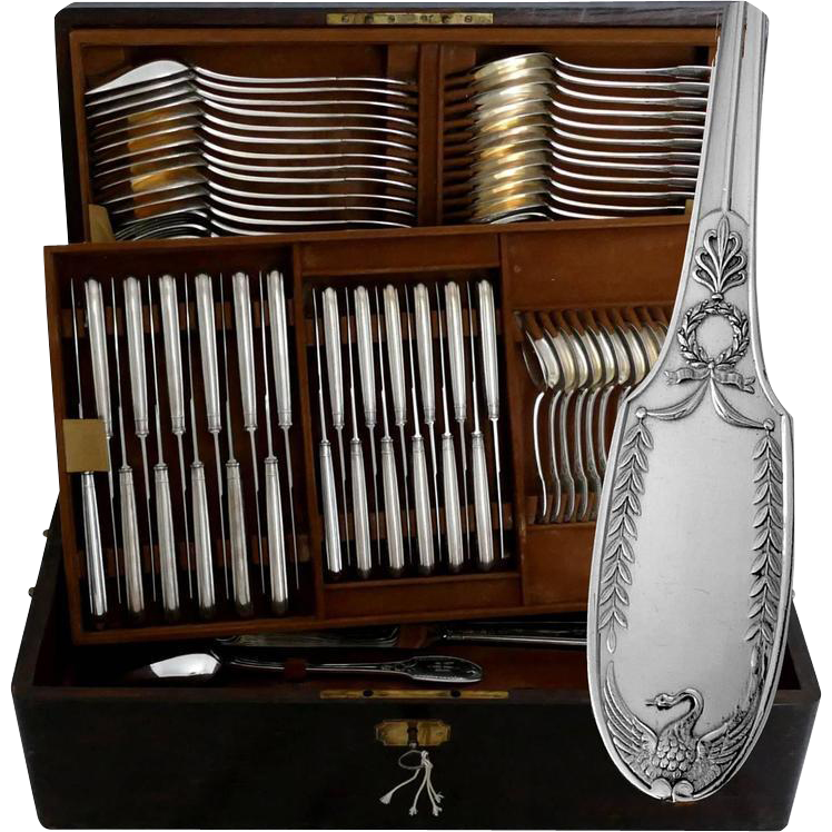 Puiforcat Fabulous French Sterling Silver Flatware Set 90 pc with Chest Swans