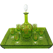 1900 Rare Baccarat Gold Green Chartreuse Crystal Liquor or Aperitif Service