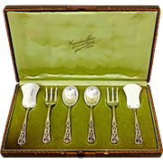 Cardeilhac French Sterling Silver 18-Karat Gold Dessert Hors D'oeuvre Set Box